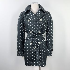 Chaps Double Breasted Trench Coat Polka Dot Belted